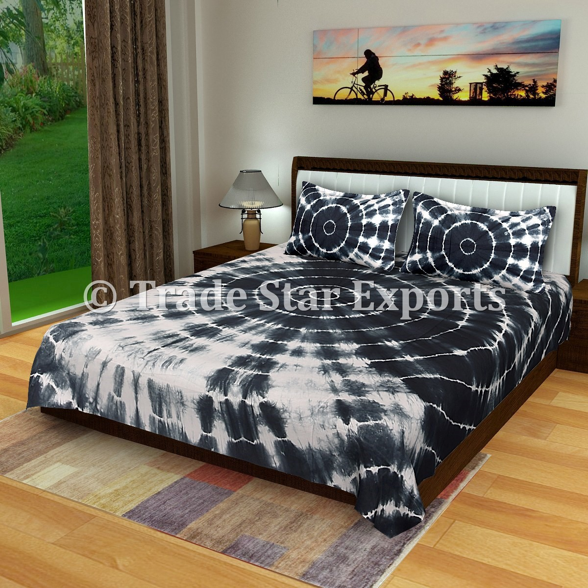 Gray Shibori Tie Dye Queen Bedding Set Trade Star Exports