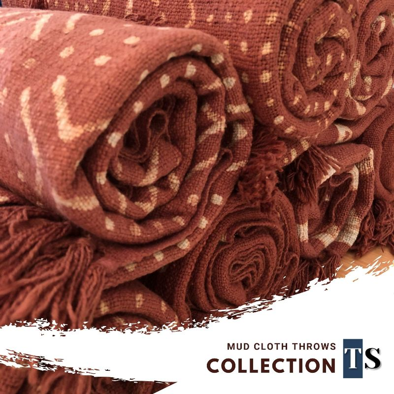 Our Rust Throw Blanket, Mud Cloth Throw is completely Hand Loomed by Indian Artisans, Rust Throw Blanket with beautiful Hand Block Prints